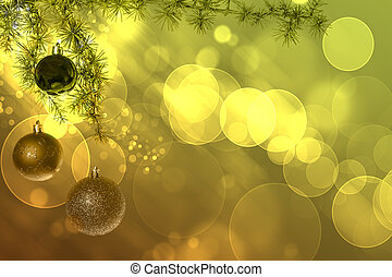 Christmas balls with green fir tree on green bokeh background