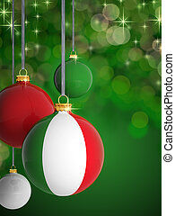 Christmas balls with Italian flag in front of lights background