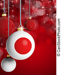 Christmas balls with Japanese flag in front of lights background