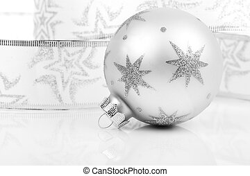 Christmas balls with on a white background