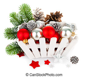 Christmas balls with pinecone and branch fir
