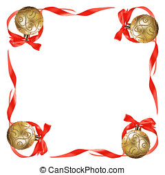 Christmas balls with red bows and ribbons