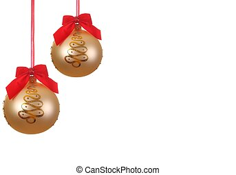 christmas balls with red ribbons, background, isolated