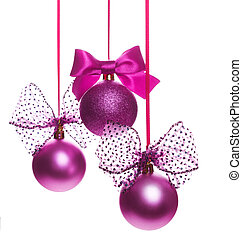 Christmas  balls with ribbon bow isolated on white background