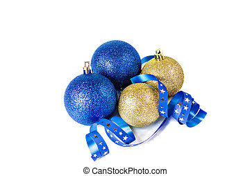 Christmas balls with ribbon on white background.