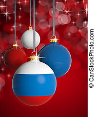 Christmas balls with Russian flag in front of lights background