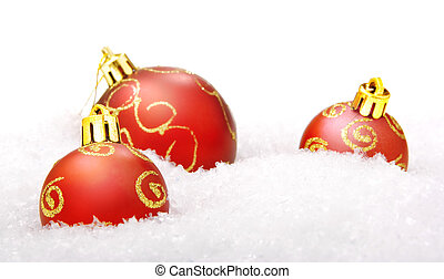 christmas balls with snow, isolated on white background