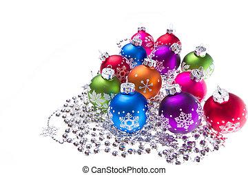 christmas balls with snowflake symbols