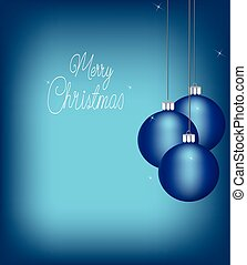 Christmas balls with stars on blue background