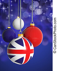 Christmas balls with United Kingdom flag in front of lights background