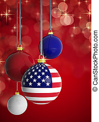 Christmas balls with USA flag in front of lights background