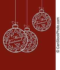 Christmas balls with white text