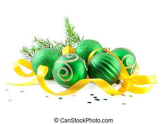 Christmas balls with yellow tape
