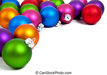 Christmas balls/bauble on white with copy space