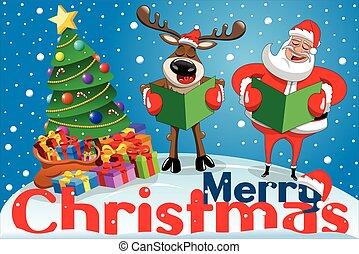 Christmas banner cartoon santa claus reindeer singing snow