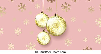 Christmas banner design with hanging baubles 2611