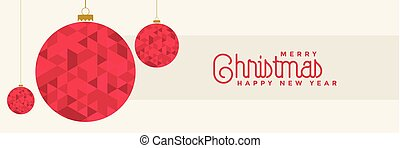 christmas banner design with red balls decoration