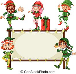 Christmas Banner - Illustration of christmas elf and a frame
