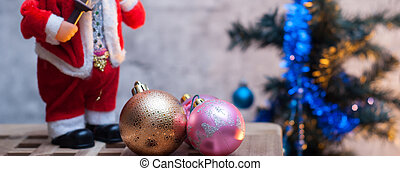 Christmas banner figurine Santa Claus,