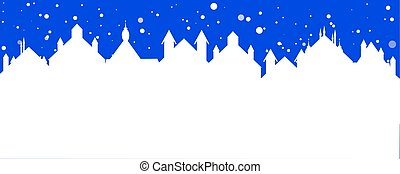 christmas banner of a street town with falling snow