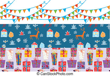 Christmas banner set with patterns funny design