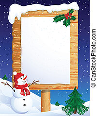christmas banner - snowman whis winter background