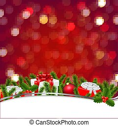 Christmas Banner With Bokeh And Firtree Frame