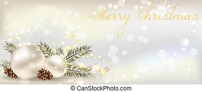 Christmas banner with decoration of conifer cone, ribbons and christmas tree branch