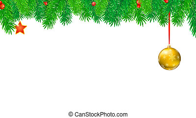 Christmas banner with fir branches and red berries. Festive atmosphere. 3D illustration. Template for winter holidays ready for printing, isolated on white