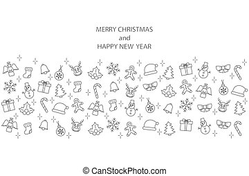 Christmas banner with line icons on white background