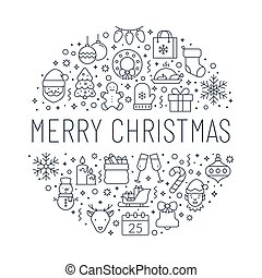 Christmas banner with line icons. Vector greeting card.