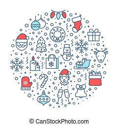 Christmas banner with line icons. Vector illustration.
