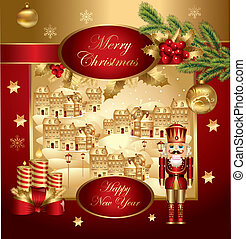 Christmas banner with nutcracker - Christmas illustration...