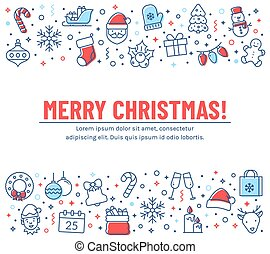 Christmas banner with outline icons. Vector greeting card.