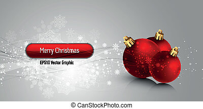 Christmas Banner with Red Globes | EPS10 Vector Background