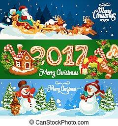 Christmas banner with Santas sleigh, gift, snowman