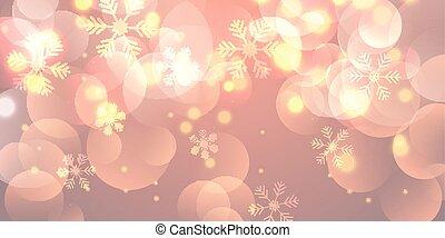 Christmas banner with snowflakes and bokeh lights