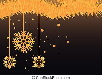 christmas banner with snowflakes golden