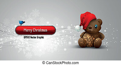 Christmas Banner with Teddy Bear | EPS10 Vector Background