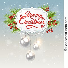 Christmas banner with white decorations