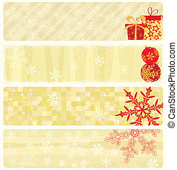 Christmas banners collection. - Four christmas beige banners...