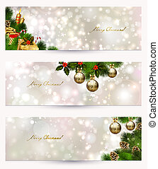 Christmas banners - set of three light Christmas banners...