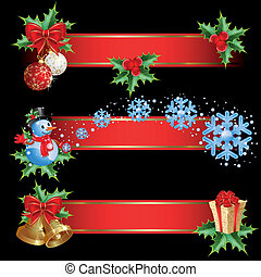 Christmas banners - Set of christmas banners with red...