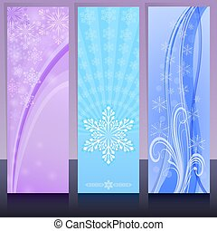 Christmas banners in cold colors with snowflake design vector template.