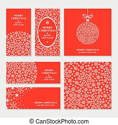 Christmas banners set with snowflakes on red background