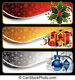Christmas Banners - Vector set of three elegant Christmas ...