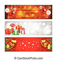 Christmas banners with balls, gifts