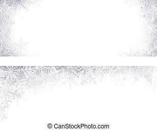 Christmas banners with crystallic snowflakes.