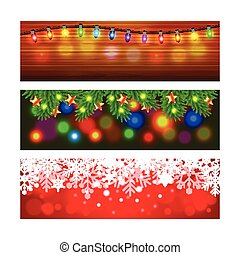 Christmas banners with lights and snowflakes