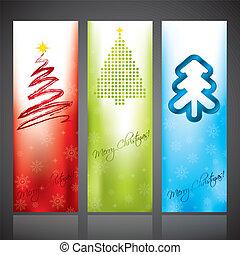 Christmas banners with various christmas tree designs